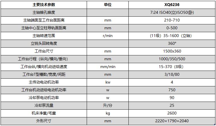 XQ6236万能回转头铣床技术参数