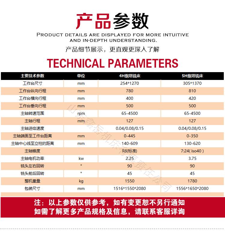 数控炮塔铣床设备技术参数